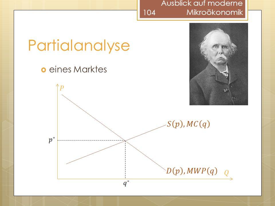 Partialanalyse eines Marktes 104 Ausblick auf moderne Mikroökonomik