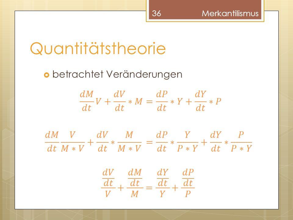 Quantitätstheorie betrachtet Veränderungen 36Merkantilismus