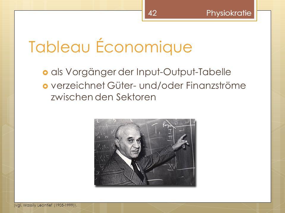 Tableau Économique als Vorgänger der Input-Output-Tabelle verzeichnet Güter- und/oder Finanzströme zwischen den Sektoren 42Physiokratie (vgl.