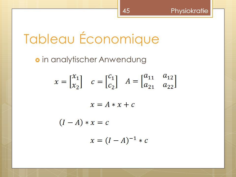 Tableau Économique 45Physiokratie in analytischer Anwendung