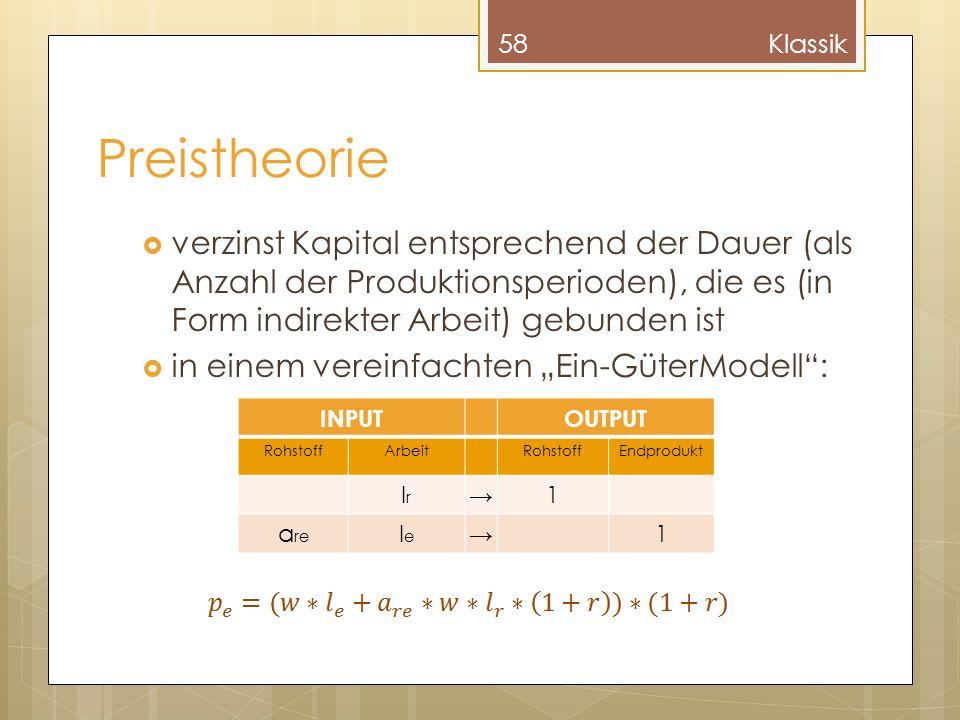Preistheorie verzinst Kapital entsprechend der Dauer (als Anzahl der Produktionsperioden), die es (in Form indirekter Arbeit) gebunden ist in einem vereinfachten Ein-GüterModell: 58Klassik INPUTOUTPUT RohstoffArbeitRohstoffEndprodukt lrlr 1 a re lele 1