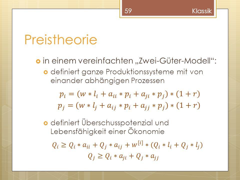 Preistheorie in einem vereinfachten Zwei-Güter-Modell: definiert ganze Produktionssysteme mit von einander abhängigen Prozessen definiert Überschusspotenzial und Lebensfähigkeit einer Ökonomie 59Klassik