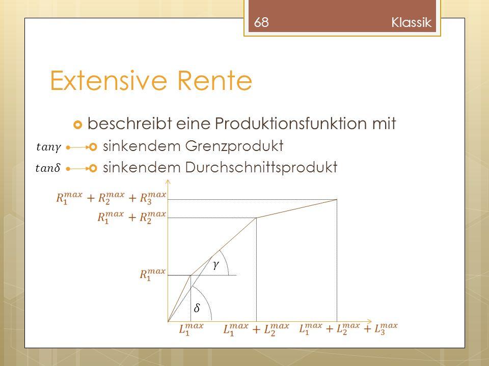 Extensive Rente beschreibt eine Produktionsfunktion mit sinkendem Grenzprodukt sinkendem Durchschnittsprodukt 68Klassik