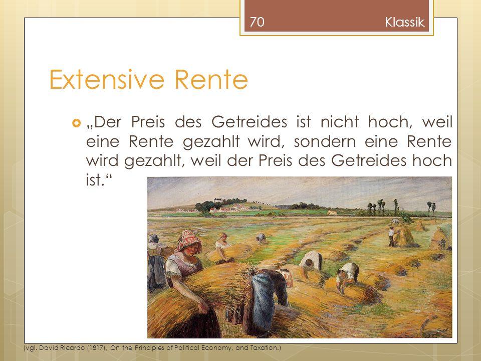 Extensive Rente Der Preis des Getreides ist nicht hoch, weil eine Rente gezahlt wird, sondern eine Rente wird gezahlt, weil der Preis des Getreides hoch ist.