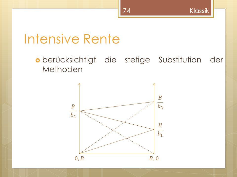 Intensive Rente berücksichtigt die stetige Substitution der Methoden 74Klassik