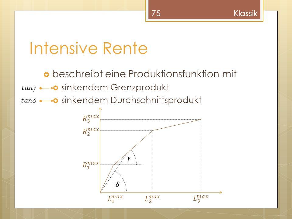 Intensive Rente beschreibt eine Produktionsfunktion mit sinkendem Grenzprodukt sinkendem Durchschnittsprodukt 75Klassik
