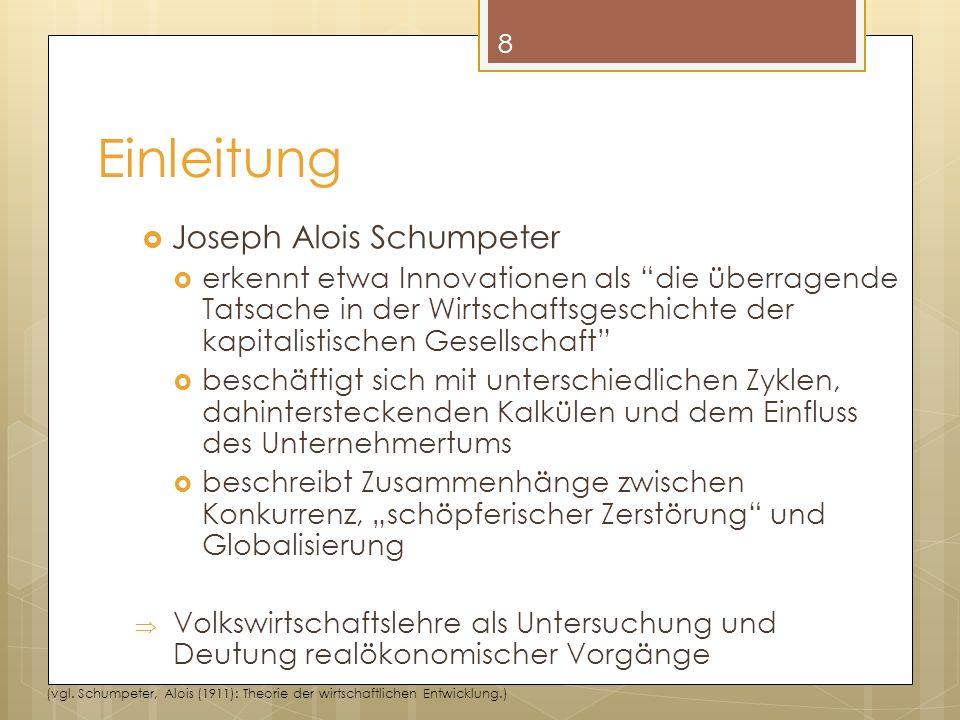 Joseph Alois Schumpeter erkennt etwa Innovationen als die überragende Tatsache in der Wirtschaftsgeschichte der kapitalistischen Gesellschaft beschäftigt sich mit unterschiedlichen Zyklen, dahintersteckenden Kalkülen und dem Einfluss des Unternehmertums beschreibt Zusammenhänge zwischen Konkurrenz, schöpferischer Zerstörung und Globalisierung Volkswirtschaftslehre als Untersuchung und Deutung realökonomischer Vorgänge 8 (vgl.