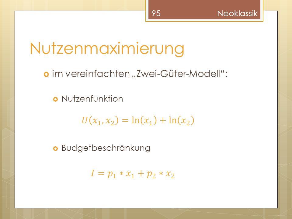 Nutzenmaximierung im vereinfachten Zwei-Güter-Modell: Nutzenfunktion Budgetbeschränkung 95Neoklassik