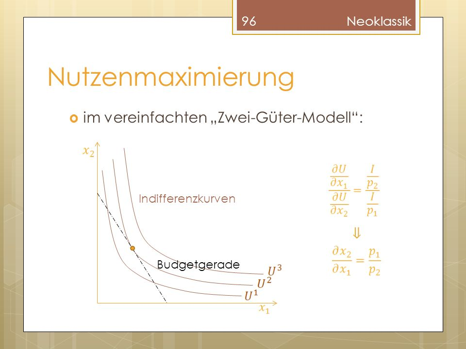Nutzenmaximierung im vereinfachten Zwei-Güter-Modell: 96Neoklassik Indifferenzkurven Budgetgerade