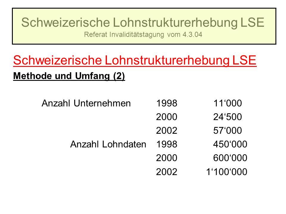 Schweizerische Lohnstrukturerhebung LSE Referat Invaliditätstagung vom 4.3.04 Schweizerische Lohnstrukturerhebung LSE Methode und Umfang (2) Anzahl Un