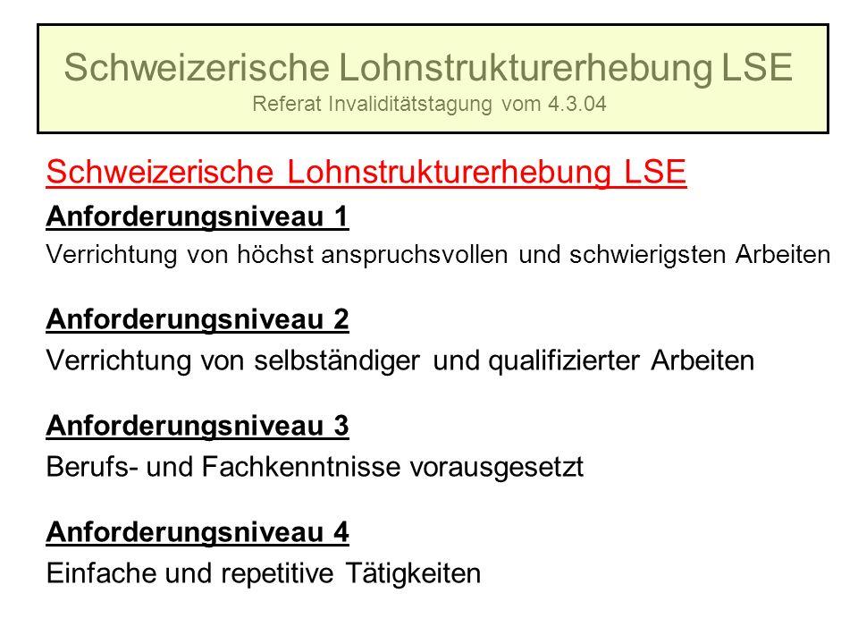 Schweizerische Lohnstrukturerhebung LSE Referat Invaliditätstagung vom 4.3.04 Schweizerische Lohnstrukturerhebung LSE Anforderungsniveau 1 Verrichtung