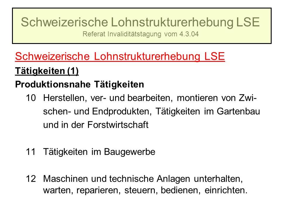 Schweizerische Lohnstrukturerhebung LSE Referat Invaliditätstagung vom 4.3.04 Schweizerische Lohnstrukturerhebung LSE Tätigkeiten (1) Produktionsnahe