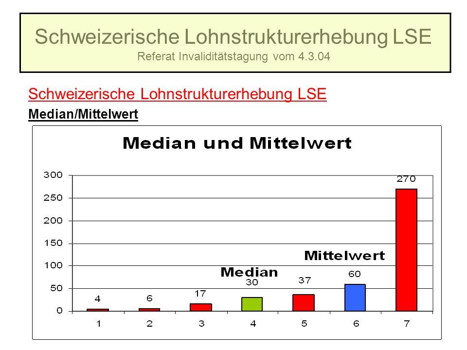 Schweizerische Lohnstrukturerhebung LSE Referat Invaliditätstagung vom 4.3.04 Schweizerische Lohnstrukturerhebung LSE Median/Mittelwert