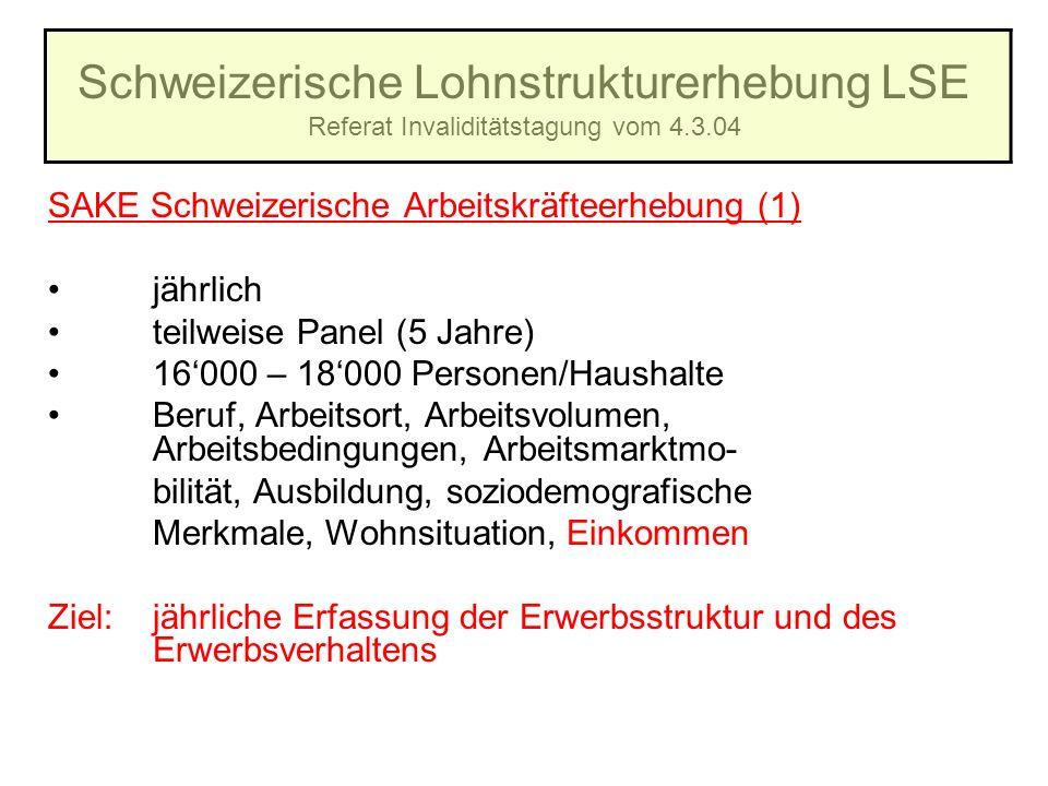 Schweizerische Lohnstrukturerhebung LSE Referat Invaliditätstagung vom 4.3.04 SAKE Schweizerische Arbeitskräfteerhebung (1) jährlich teilweise Panel (