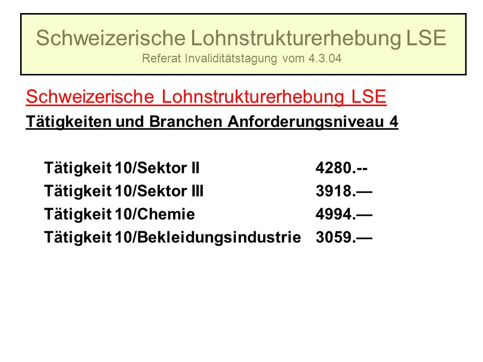 Schweizerische Lohnstrukturerhebung LSE Referat Invaliditätstagung vom 4.3.04 Schweizerische Lohnstrukturerhebung LSE Tätigkeiten und Branchen Anforde