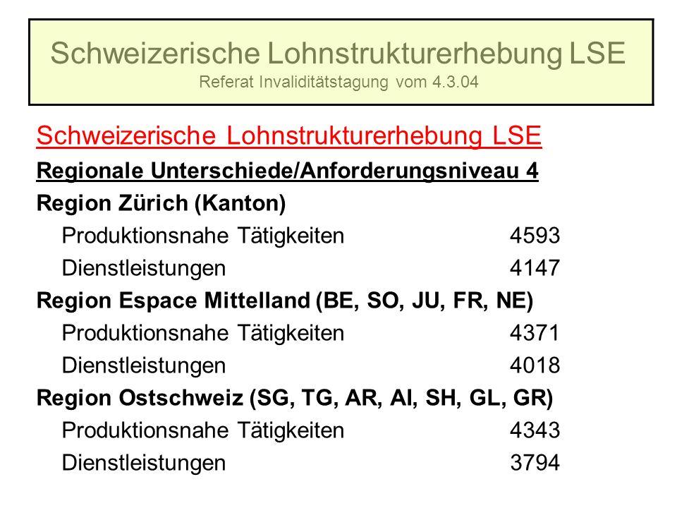 Schweizerische Lohnstrukturerhebung LSE Referat Invaliditätstagung vom 4.3.04 Schweizerische Lohnstrukturerhebung LSE Regionale Unterschiede/Anforderu