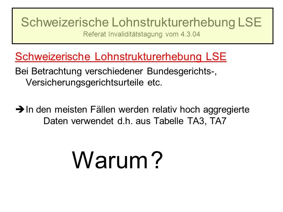 Schweizerische Lohnstrukturerhebung LSE Referat Invaliditätstagung vom 4.3.04 Schweizerische Lohnstrukturerhebung LSE Bei Betrachtung verschiedener Bu