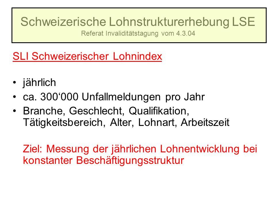 Schweizerische Lohnstrukturerhebung LSE Referat Invaliditätstagung vom 4.3.04 SLI Schweizerischer Lohnindex jährlich ca. 300000 Unfallmeldungen pro Ja