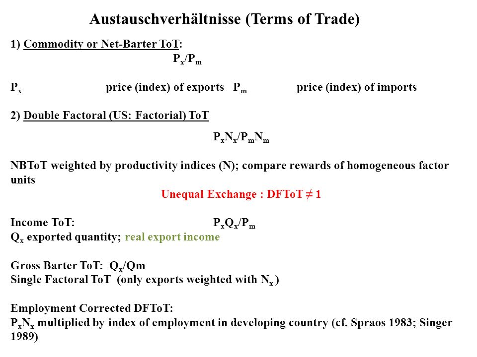 Austauschverhältnisse (Terms of Trade) 1) Commodity or Net-Barter ToT: P x /P m P x price (index) of exports P m price (index) of imports 2) Double Fa