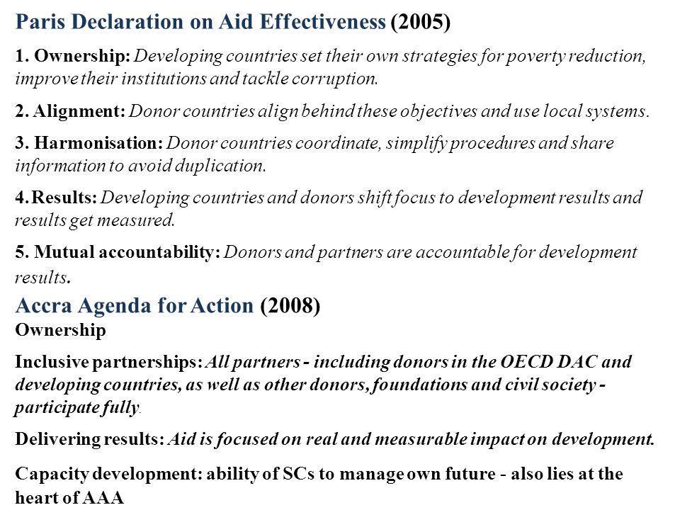 Paris Declaration on Aid Effectiveness (2005) 1.