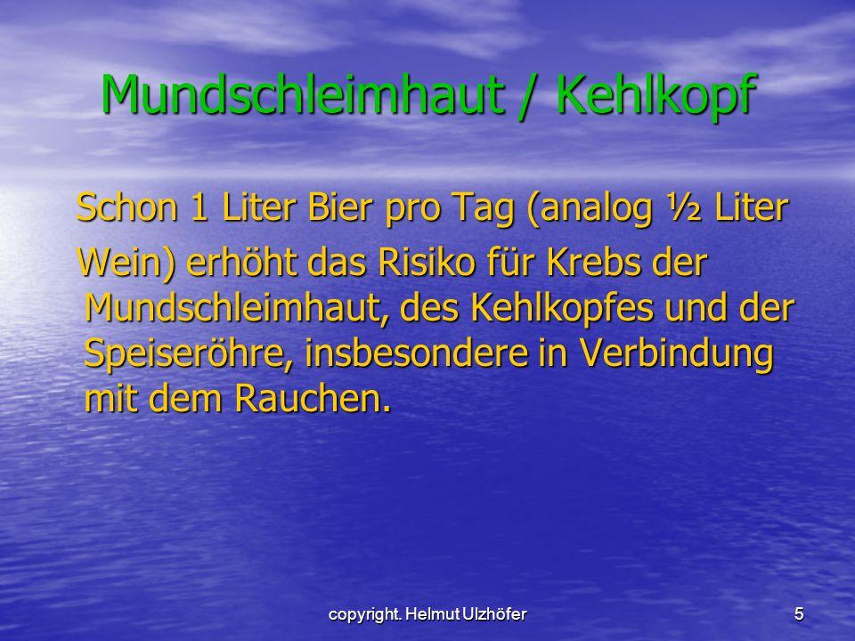 copyright. Helmut Ulzhöfer5 Mundschleimhaut / Kehlkopf Schon 1 Liter Bier pro Tag (analog ½ Liter Schon 1 Liter Bier pro Tag (analog ½ Liter Wein) erh