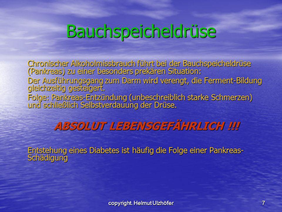 copyright. Helmut Ulzhöfer7 Bauchspeicheldrüse Chronischer Alkoholmissbrauch führt bei der Bauchspeicheldrüse (Pankreas) zu einer besonders prekären S