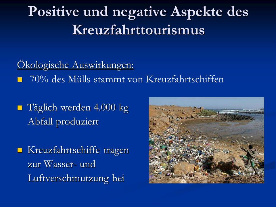 Positive und negative Aspekte des Kreuzfahrttourismus Ökologische Auswirkungen: 70% des Mülls stammt von Kreuzfahrtschiffen Täglich werden 4.000 kg Täglich werden 4.000 kg Abfall produziert Abfall produziert Kreuzfahrtschiffe tragen Kreuzfahrtschiffe tragen zur Wasser- und zur Wasser- und Luftverschmutzung bei Luftverschmutzung bei