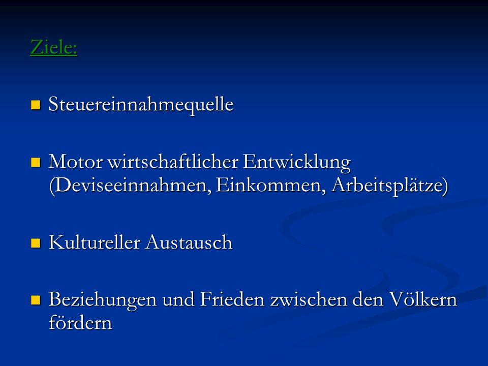 Ziele: Steuereinnahmequelle Steuereinnahmequelle Motor wirtschaftlicher Entwicklung (Deviseeinnahmen, Einkommen, Arbeitsplätze) Motor wirtschaftlicher Entwicklung (Deviseeinnahmen, Einkommen, Arbeitsplätze) Kultureller Austausch Kultureller Austausch Beziehungen und Frieden zwischen den Völkern fördern Beziehungen und Frieden zwischen den Völkern fördern