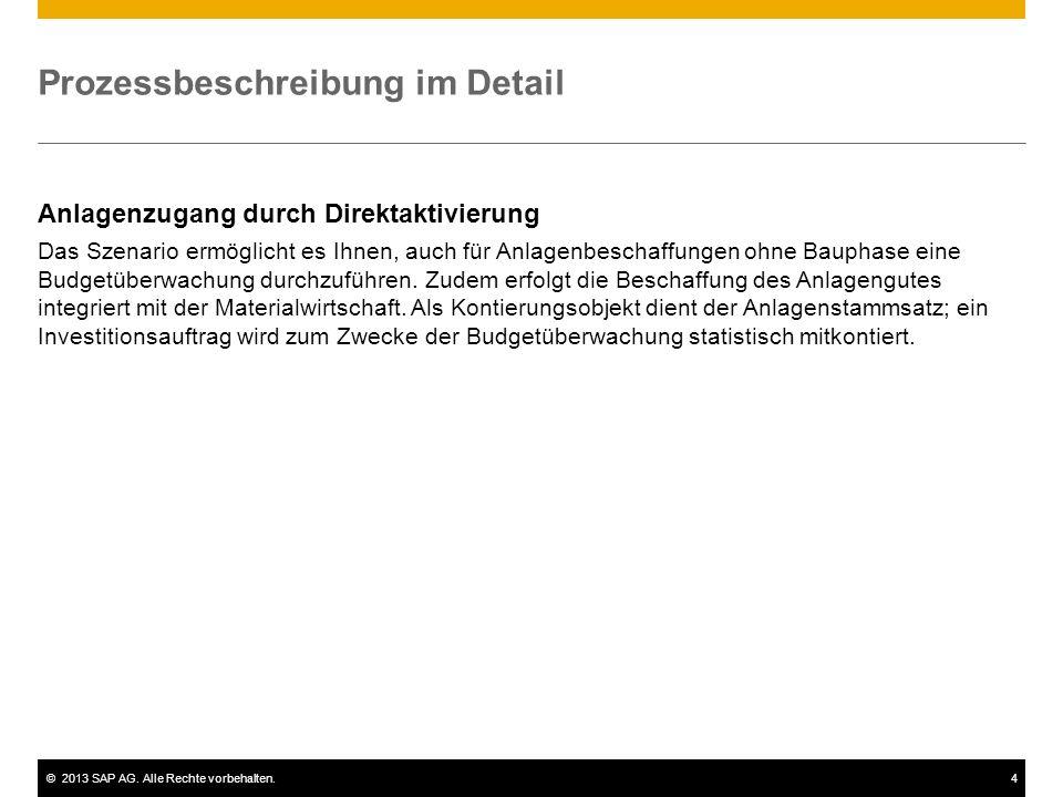 ©2013 SAP AG. Alle Rechte vorbehalten.4 Prozessbeschreibung im Detail Anlagenzugang durch Direktaktivierung Das Szenario ermöglicht es Ihnen, auch für