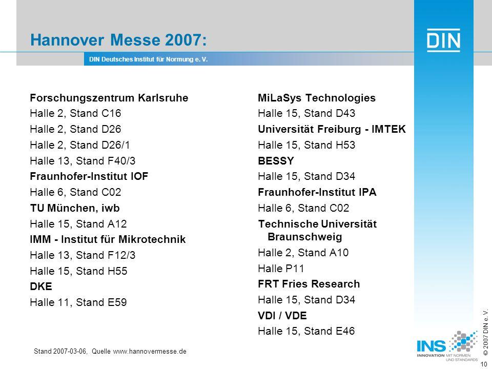 DIN Deutsches Institut für Normung e. V. © 2007 DIN e. V. 10 Hannover Messe 2007: Forschungszentrum Karlsruhe Halle 2, Stand C16 Halle 2, Stand D26 Ha
