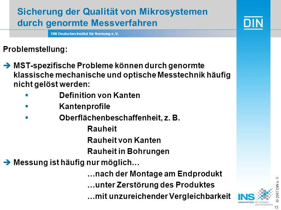 DIN Deutsches Institut für Normung e. V. © 2007 DIN e. V. 13 Problemstellung: MST-spezifische Probleme können durch genormte klassische mechanische un