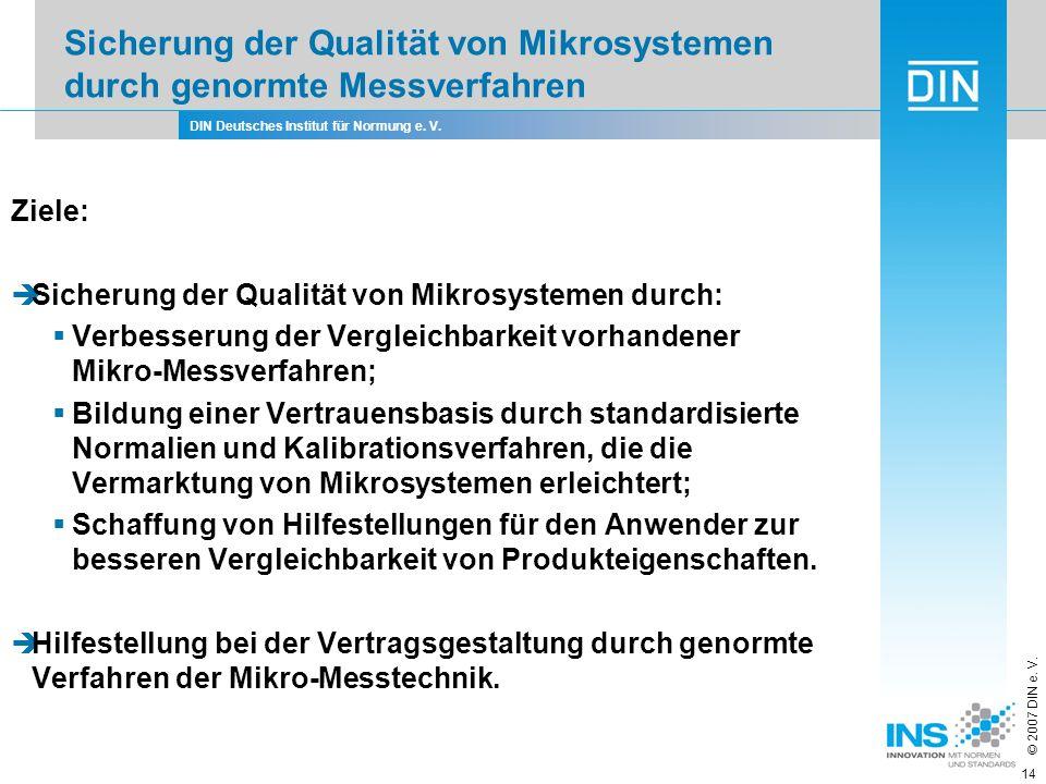 DIN Deutsches Institut für Normung e. V. © 2007 DIN e. V. 14 Ziele: Sicherung der Qualität von Mikrosystemen durch: Verbesserung der Vergleichbarkeit