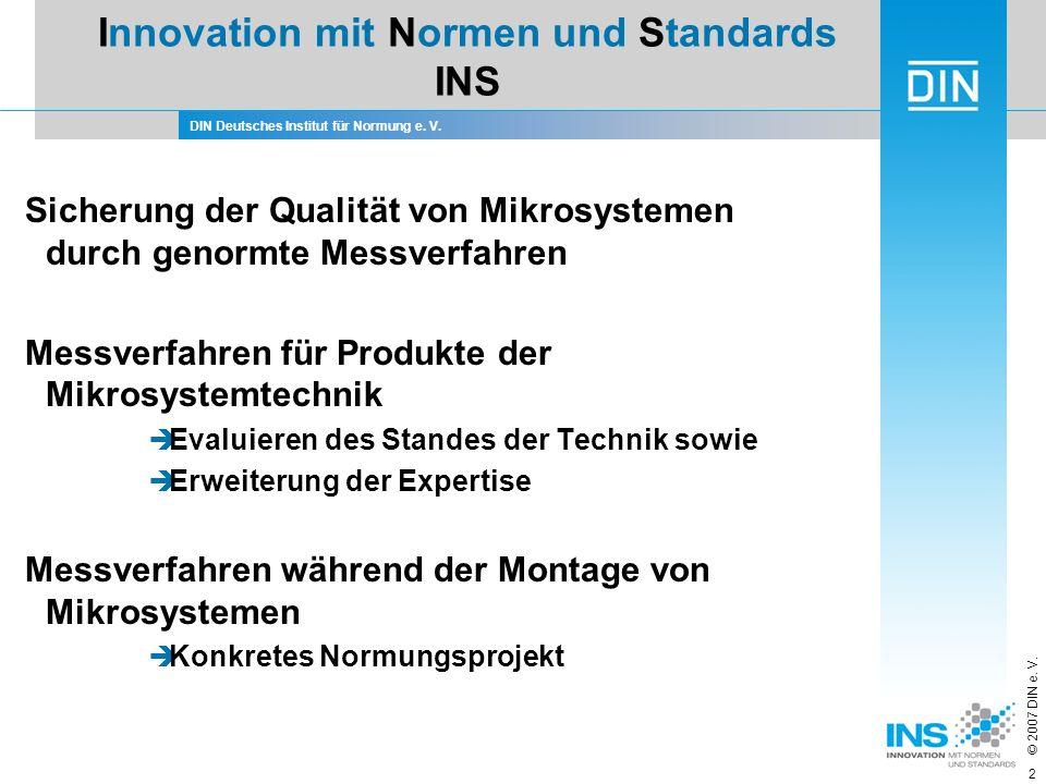 DIN Deutsches Institut für Normung e. V. © 2007 DIN e. V. 2 Sicherung der Qualität von Mikrosystemen durch genormte Messverfahren Messverfahren für Pr