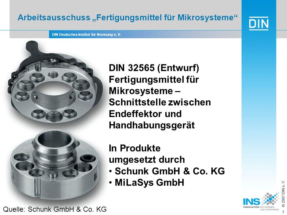 DIN Deutsches Institut für Normung e. V. © 2007 DIN e. V. 7 Arbeitsausschuss Fertigungsmittel für Mikrosysteme DIN 32565 (Entwurf) Fertigungsmittel fü
