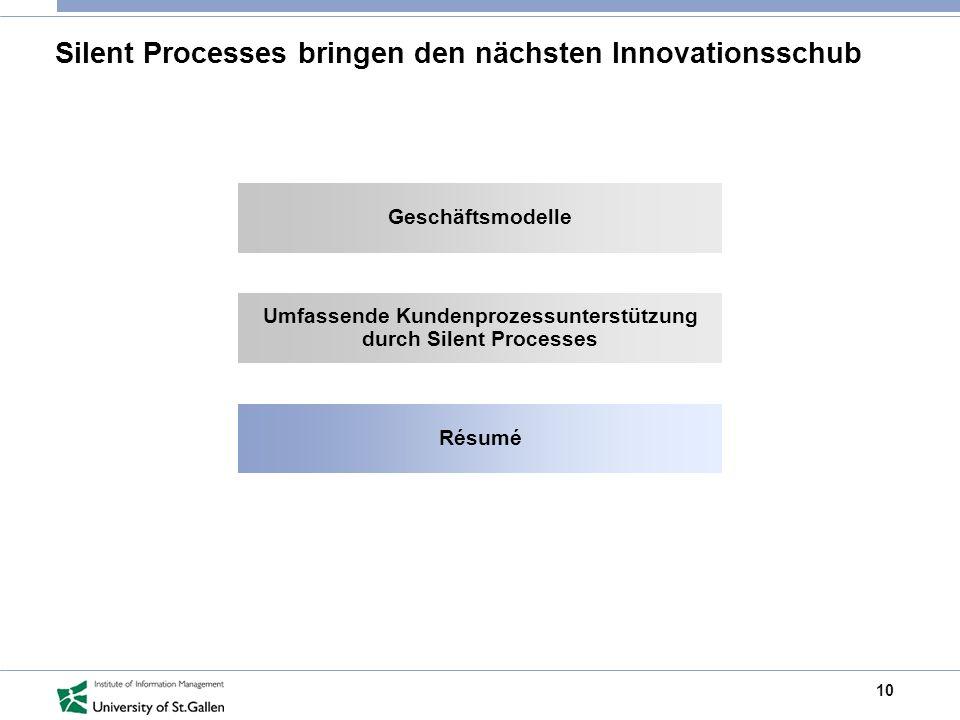 10 Silent Processes bringen den nächsten Innovationsschub Geschäftsmodelle Umfassende Kundenprozessunterstützung durch Silent Processes Résumé