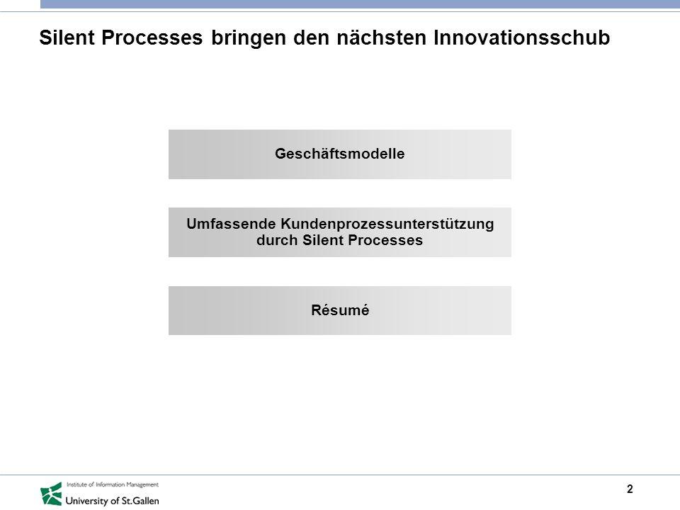 2 Silent Processes bringen den nächsten Innovationsschub Geschäftsmodelle Umfassende Kundenprozessunterstützung durch Silent Processes Résumé