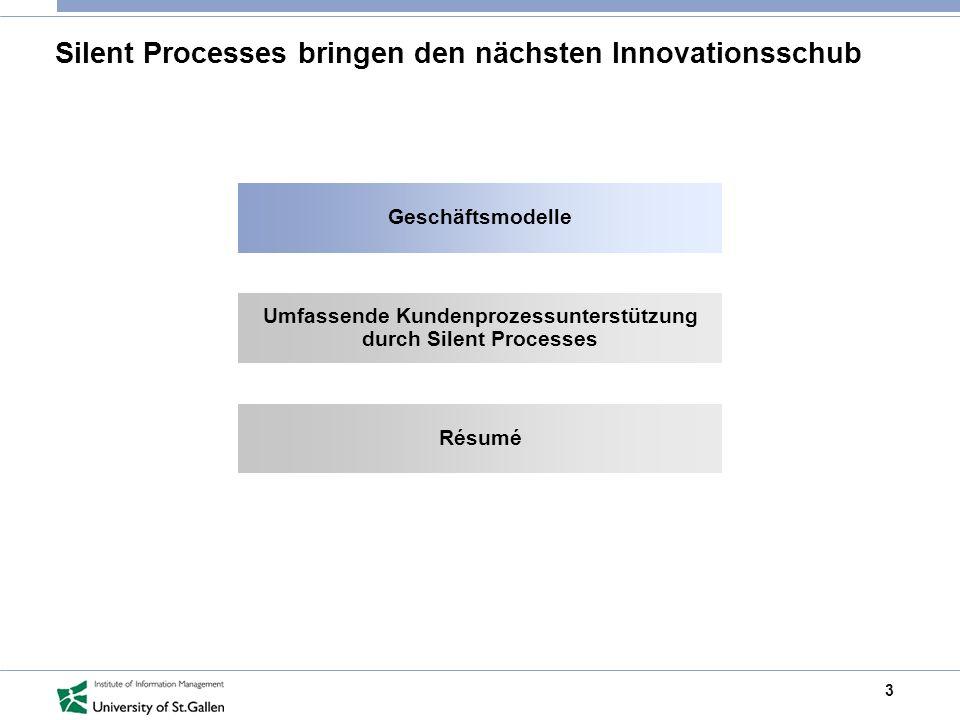 3 Silent Processes bringen den nächsten Innovationsschub Geschäftsmodelle Umfassende Kundenprozessunterstützung durch Silent Processes Résumé