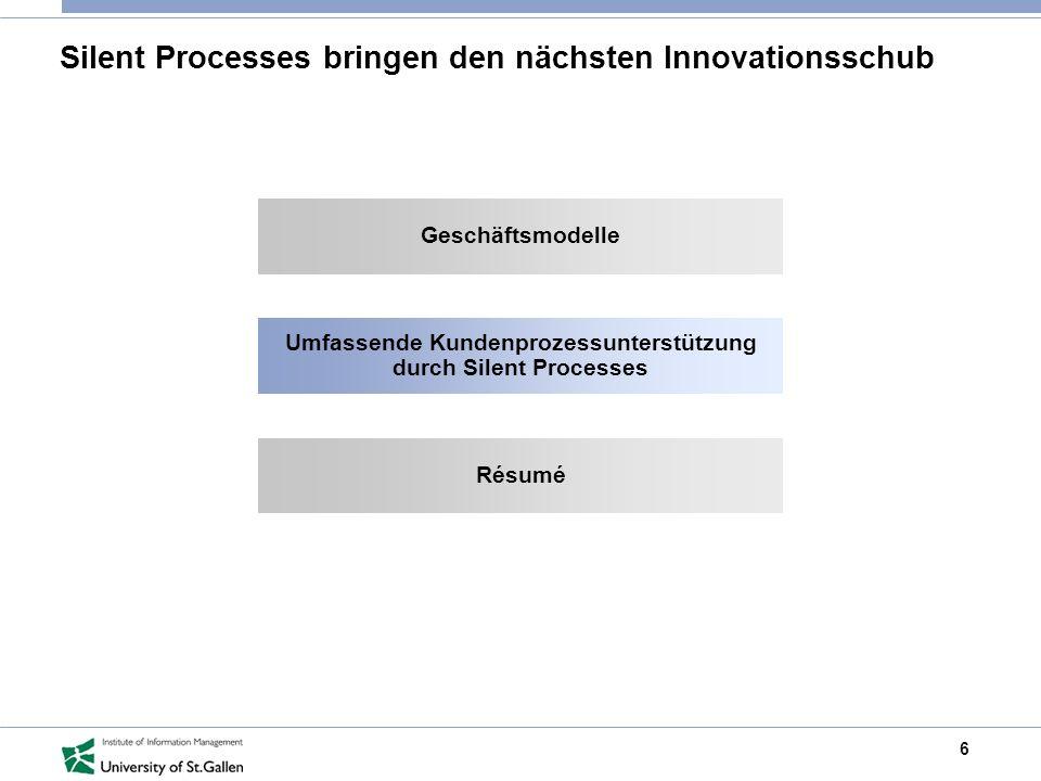 6 Silent Processes bringen den nächsten Innovationsschub Geschäftsmodelle Umfassende Kundenprozessunterstützung durch Silent Processes Résumé