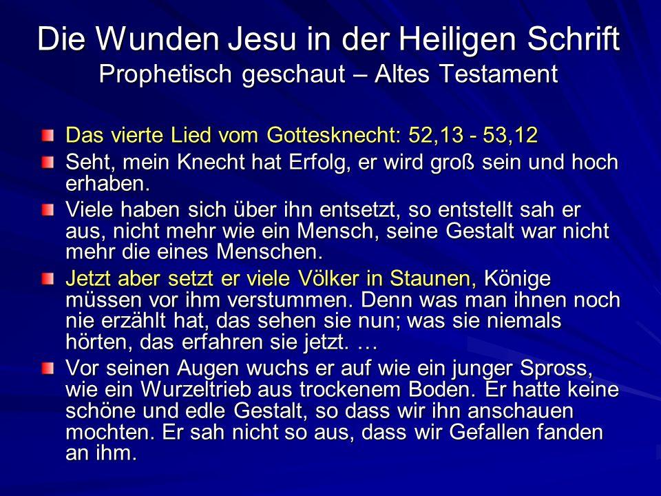 Die Wunden Jesu in der Heiligen Schrift Prophetisch geschaut – Altes Testament Das vierte Lied vom Gottesknecht: 52,13 - 53,12 Seht, mein Knecht hat E