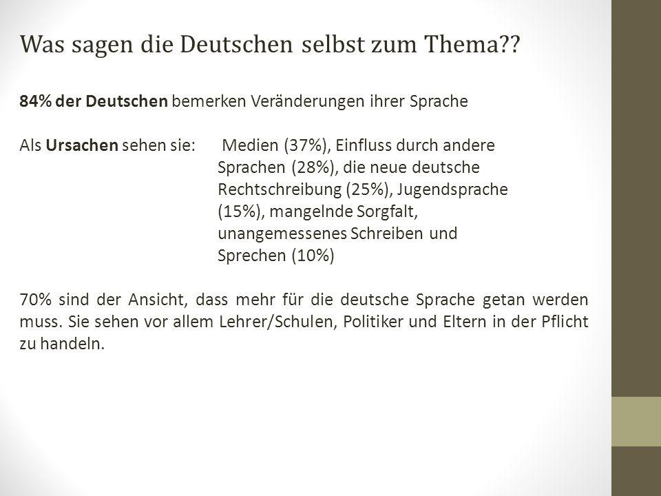 Was sagen die Deutschen selbst zum Thema?.