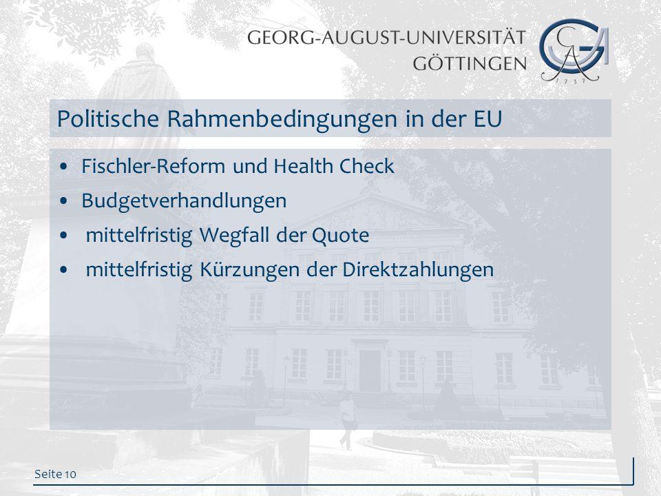 Seite 10 Politische Rahmenbedingungen in der EU Fischler-Reform und Health Check Budgetverhandlungen mittelfristig Wegfall der Quote mittelfristig Kür