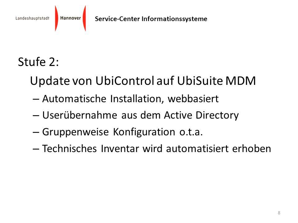 Service-Center Informationssysteme Stufe 2: Update von UbiControl auf UbiSuite MDM – Automatische Installation, webbasiert – Userübernahme aus dem Act