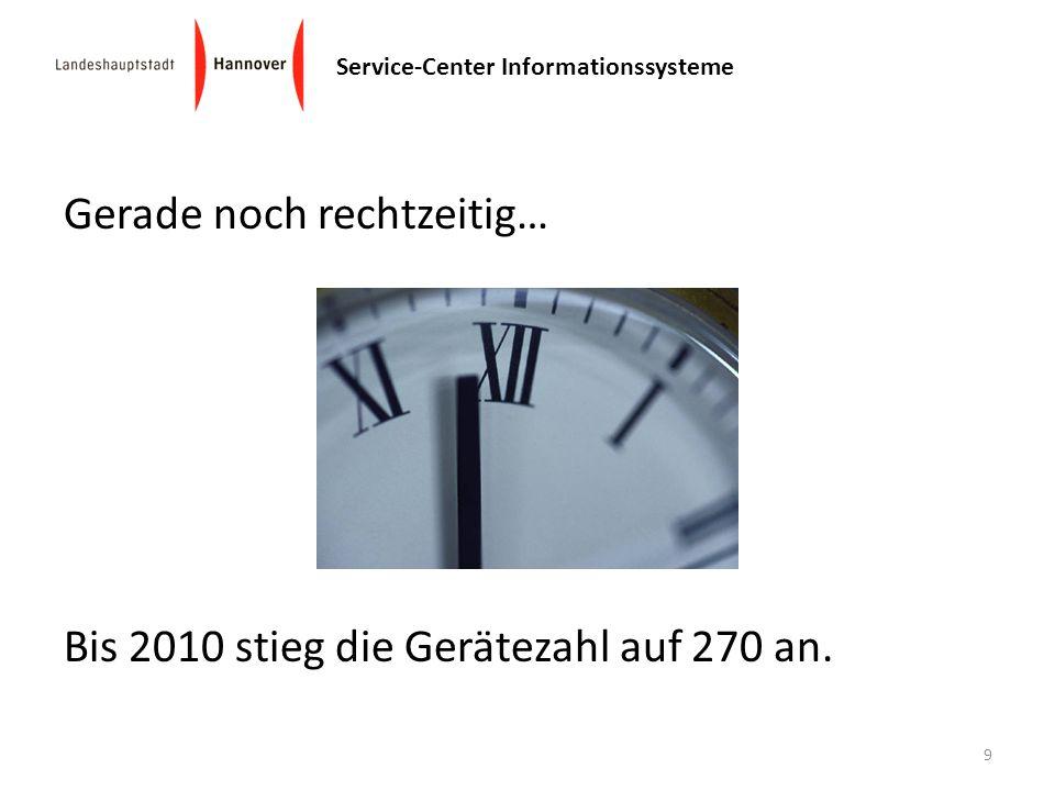 Service-Center Informationssysteme Gerade noch rechtzeitig… Bis 2010 stieg die Gerätezahl auf 270 an. 9