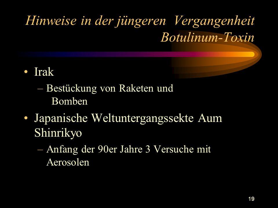 19 Hinweise in der jüngeren Vergangenheit Botulinum-Toxin Irak –Bestückung von Raketen und Bomben Japanische Weltuntergangssekte Aum Shinrikyo –Anfang