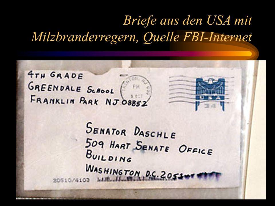 2 Briefe aus den USA mit Milzbranderregern, Quelle FBI-Internet