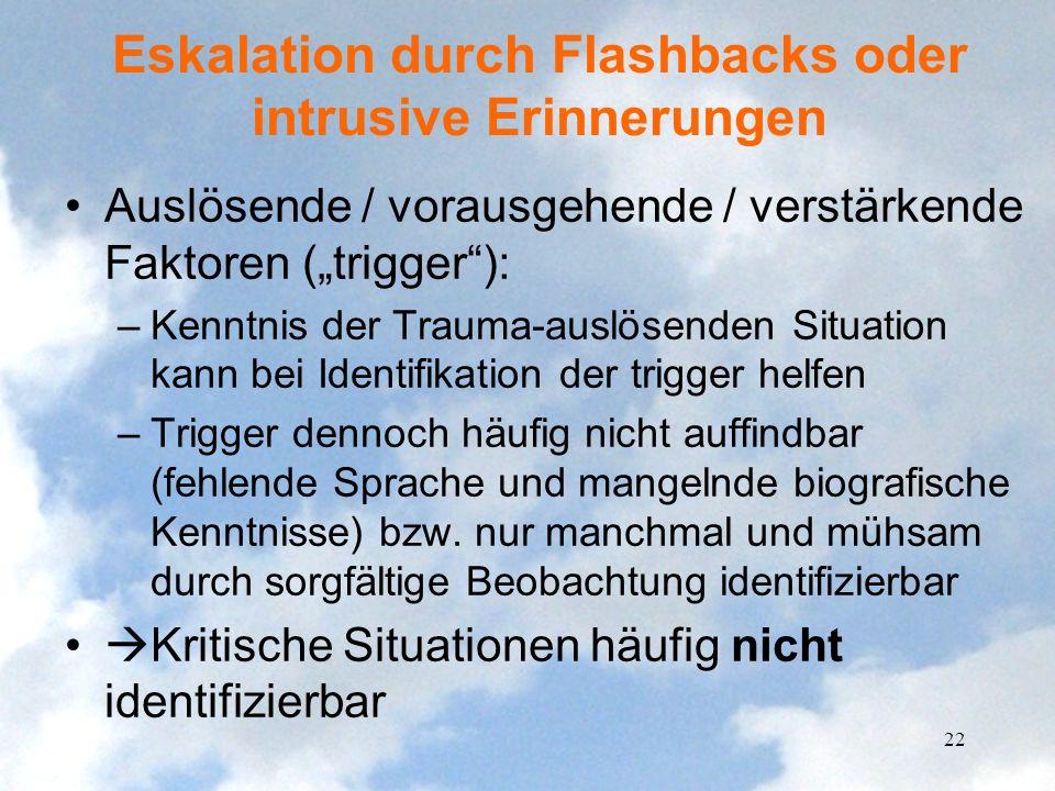 Eskalation durch Flashbacks oder intrusive Erinnerungen Auslösende / vorausgehende / verstärkende Faktoren (trigger): –Kenntnis der Trauma-auslösenden