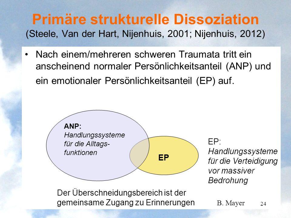 Nach einem/mehreren schweren Traumata tritt ein anscheinend normaler Persönlichkeitsanteil (ANP) und ein emotionaler Persönlichkeitsanteil (EP) auf. P