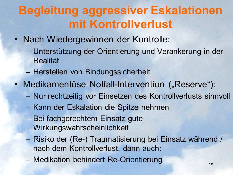 Begleitung aggressiver Eskalationen mit Kontrollverlust Nach Wiedergewinnen der Kontrolle: –Unterstützung der Orientierung und Verankerung in der Real