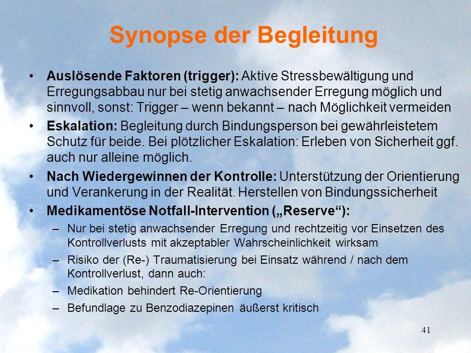 Synopse der Begleitung Auslösende Faktoren (trigger): Aktive Stressbewältigung und Erregungsabbau nur bei stetig anwachsender Erregung möglich und sin