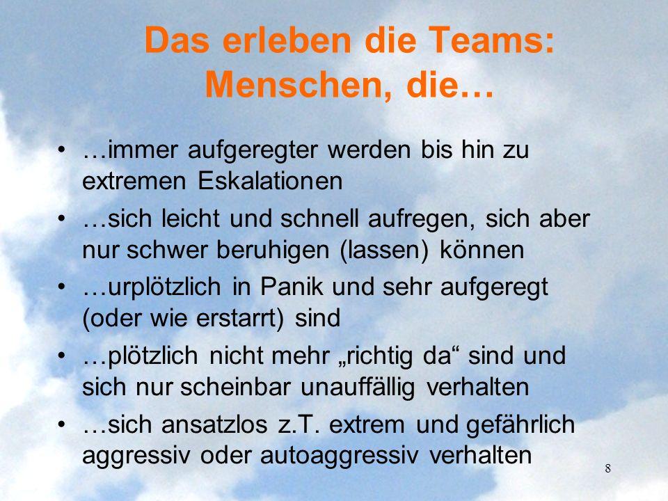 Das erleben die Teams: Menschen, die… …immer aufgeregter werden bis hin zu extremen Eskalationen …sich leicht und schnell aufregen, sich aber nur schw